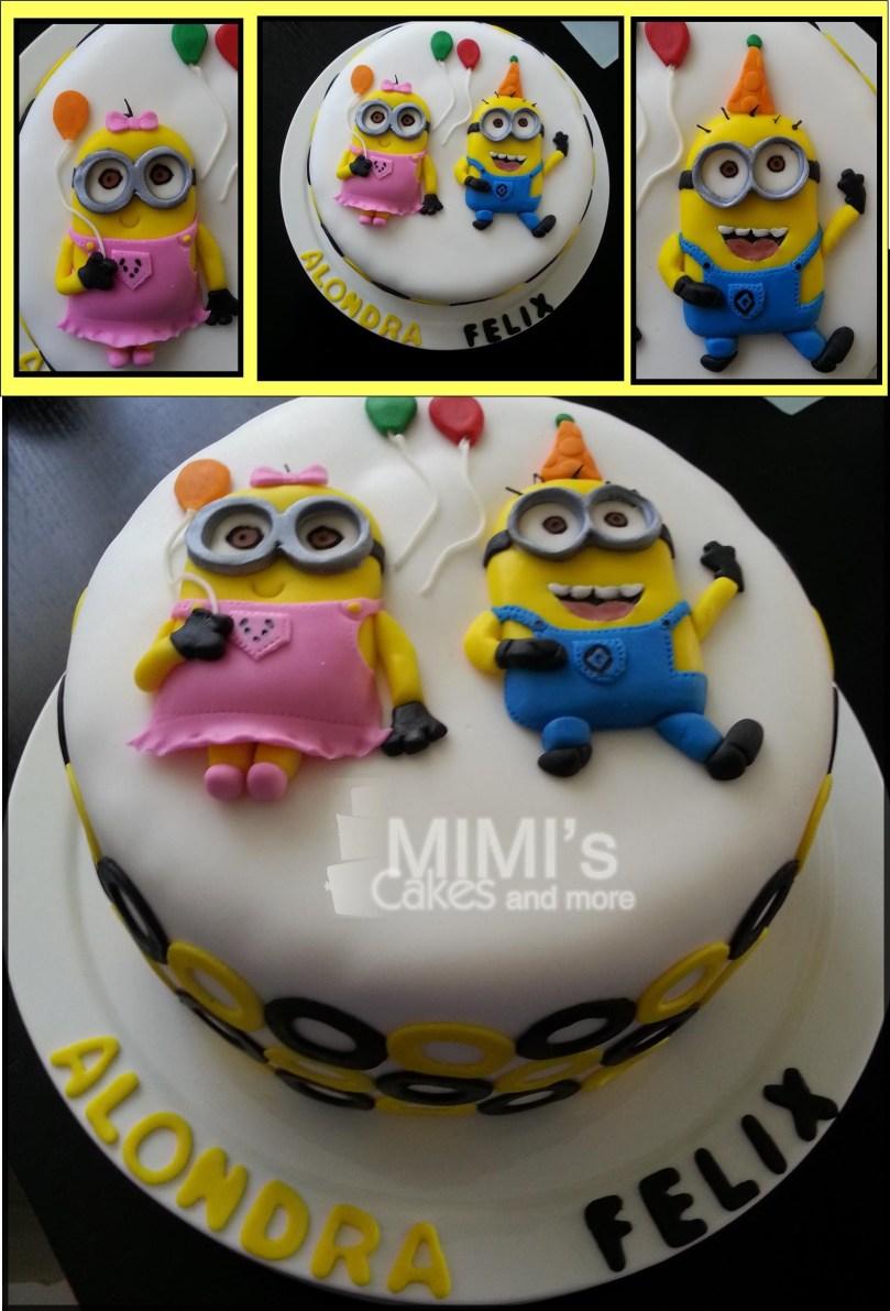 Minions Birthday Cakes Minion Birthday Cake Girl And Boy Minion Celebrating A Double