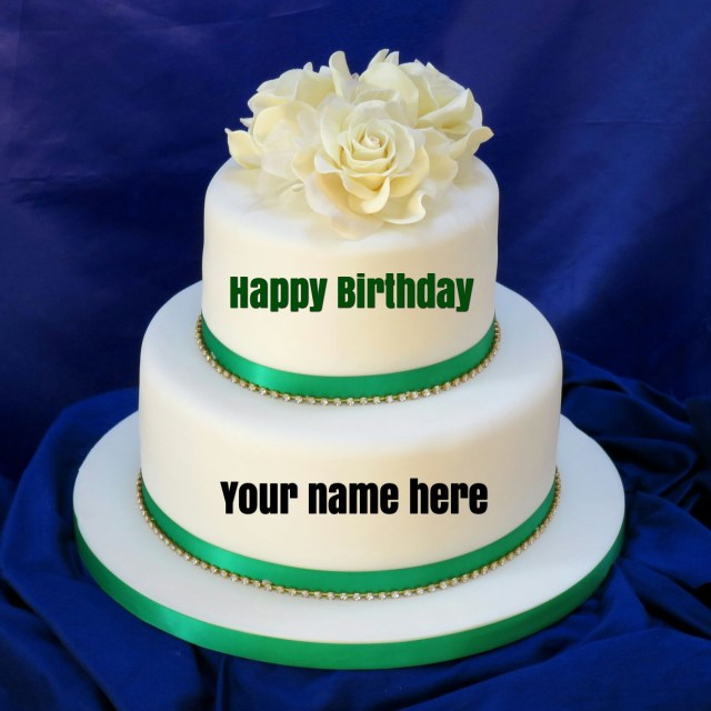 Name On Birthday Cake Double Layer Vanilla Birthday Cake With Name For Sisterget Name On