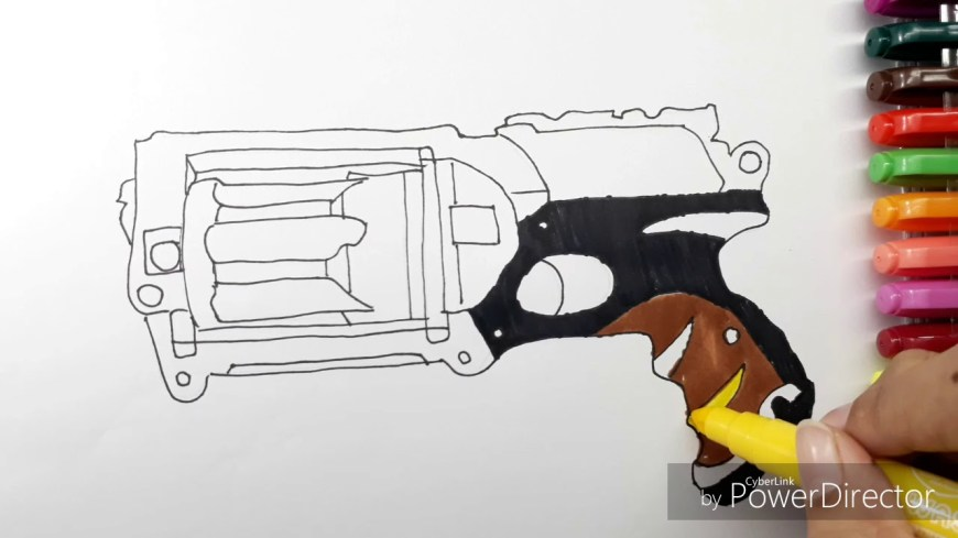 Nerf Gun Coloring Pages How To Draw Nerf Gun Coloring Book Learning Coloring Page For