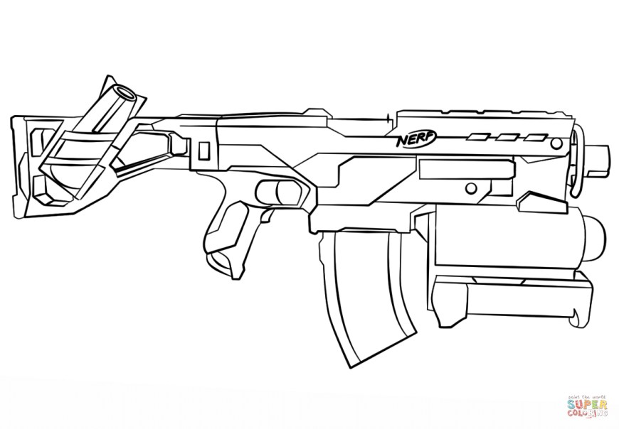 Nerf Gun Coloring Pages Nerf Gun Coloring Page Free Printable Coloring Pages