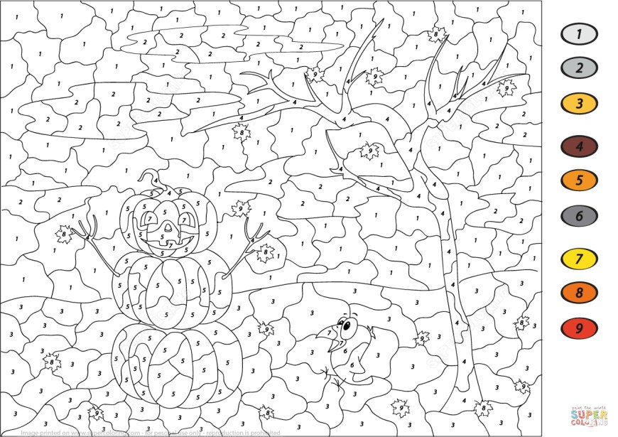 Number Coloring Pages Halloween Scene Color Number Free Printable Coloring Pages