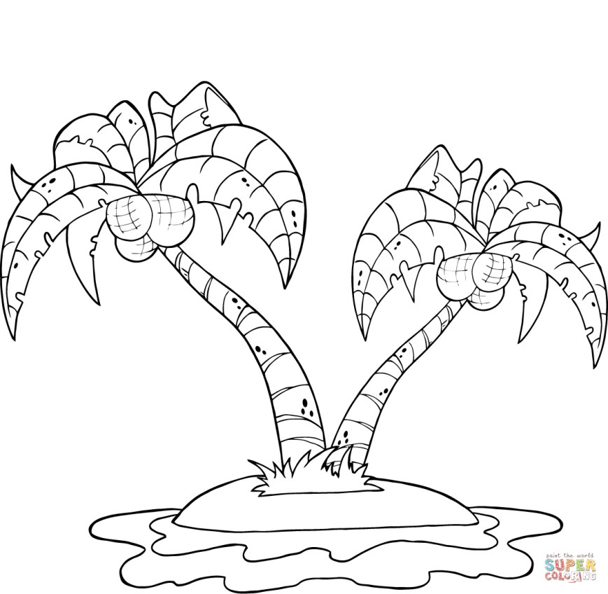 Palm Tree Coloring Page Coconut Palm Trees On Island Coloring Page Free Printable Coloring