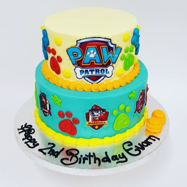 Paw Patrol Birthday Cake Ideas Two Tier Paw Patrol With Edible Images The Girl On The Swing