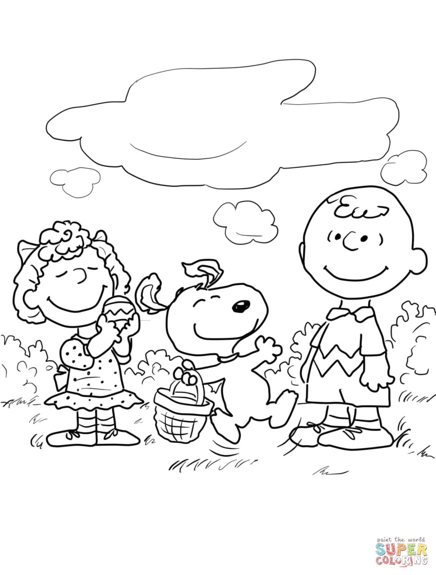 Peanuts Coloring Pages Coloring Page Peanuts Easter Coloring Page Snoopy Pages