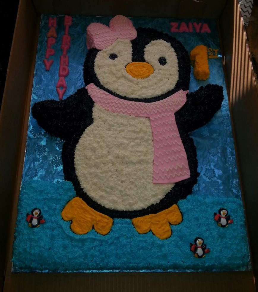 Penguin Birthday Cake Ba Penguin Shaped Themed Birthday Cake Cakecentral