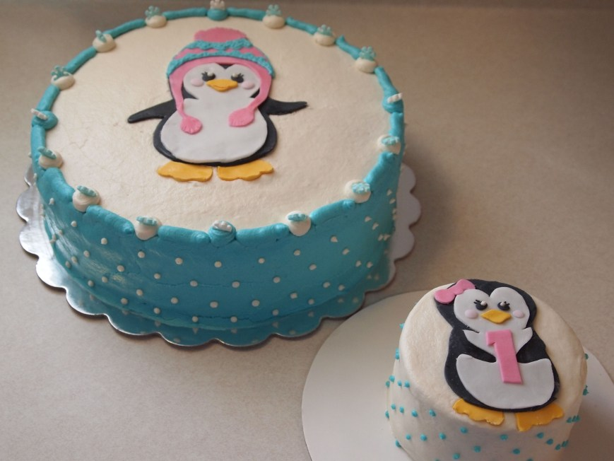 Penguin Birthday Cake Penguin First Birthday Cake Baked The Flour Fairy Pinterest