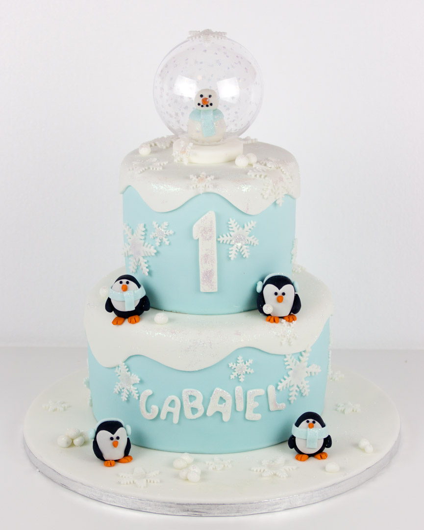 Penguin Birthday Cake Two Tier Penguin Snow Globe Birthday Cake