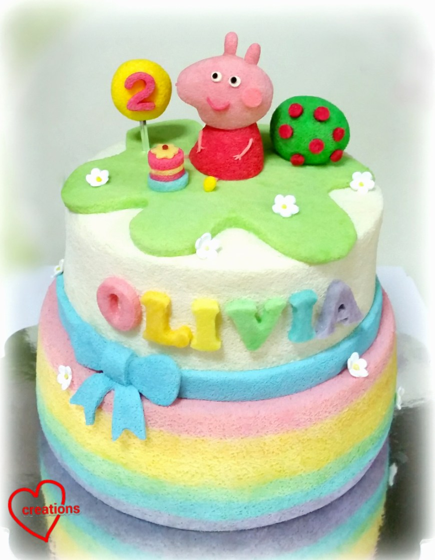 Peppa Pig Birthday Cakes Loving Creations For You Rainbow Peppa Pig Birthday Tiered