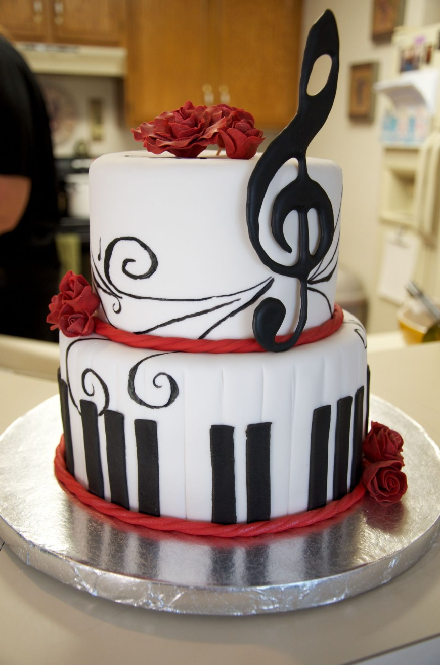 Piano Birthday Cake Music Red White And Black Birthday Cake Handmade Piano Keys Treble