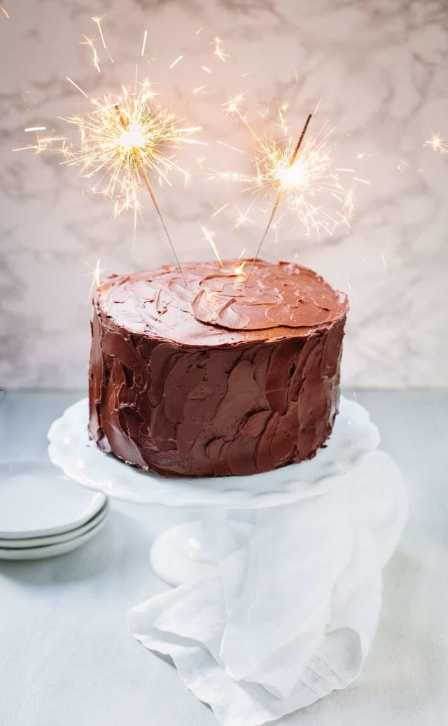 Picture Of Birthday Cake Chocolate Birthday Cake With Chocolate Ganache Familystyle Food