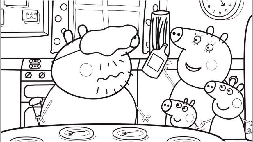 Pig Coloring Page Food Coloring Pages With Daddy Pig Peppa Pig Coloring Book Pages