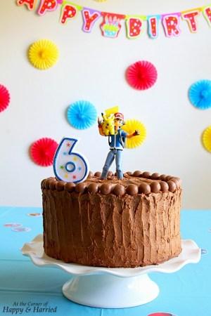 Pikachu Birthday Cake Pokemon Birthday Cake Yellow Layer Cake With Chocolate Buttercream