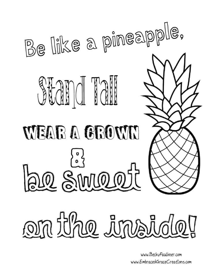 Pineapple Coloring Page Pineapple Coloring Page Diywordpress