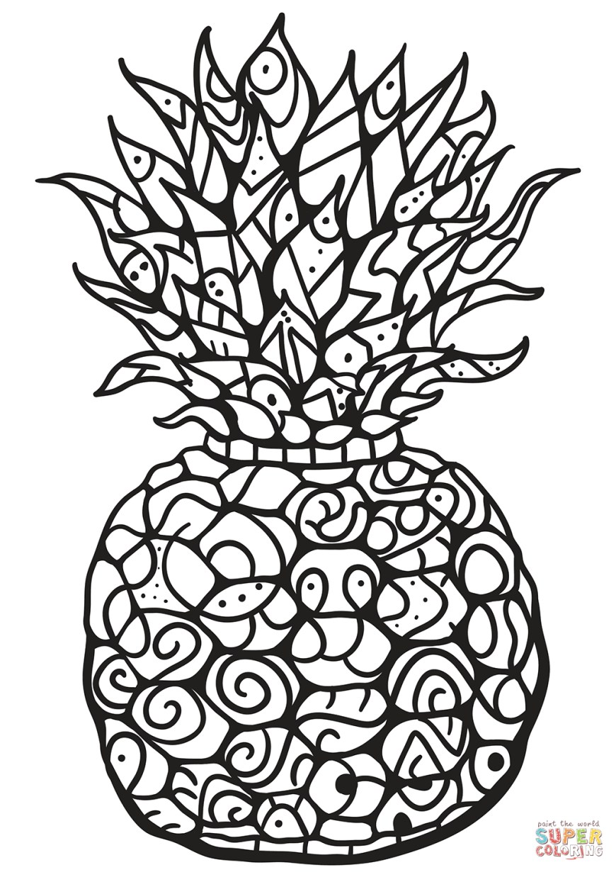 Pineapple Coloring Page Zentangle Pineapple Coloring Page Free Printable Coloring Pages