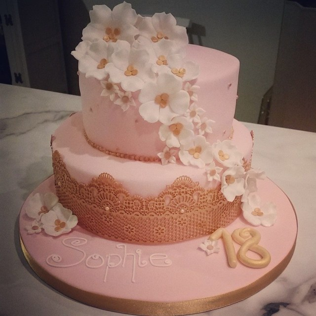 Pink And Gold Birthday Cake Boutique Bakery Cakes Grims 18th Birthday Cake In Pink With