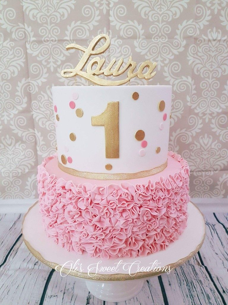 Pink And Gold Birthday Cake First Birthday Cake With Pink And Gold Theme Birthdays
