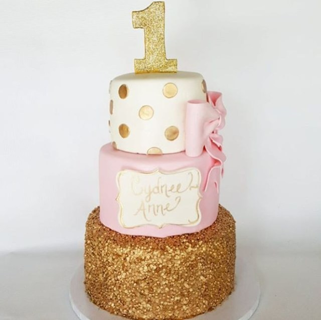Pink And Gold Birthday Cake Pink And Gold 1st Birthday Cakecentral