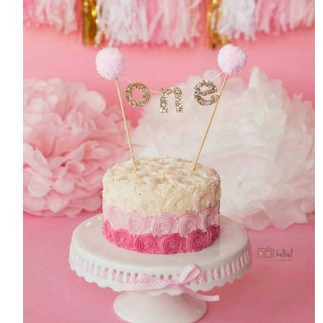 Pink And Gold Birthday Cake Pink And Gold Cake Banner For First Birthday First Birthday Cake
