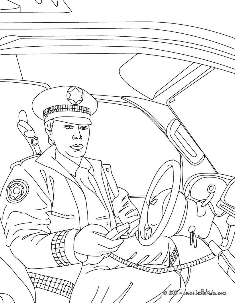 Police Officer Coloring Pages Police Officer Coloring Page Policeman In His Car Pages Hellokidscom