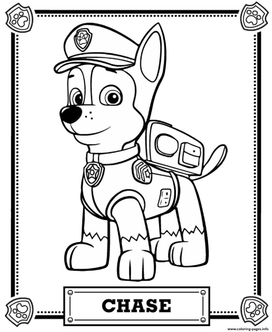 Printable Paw Patrol Coloring Pages Paw Patrol Chase Coloring Pages Printable