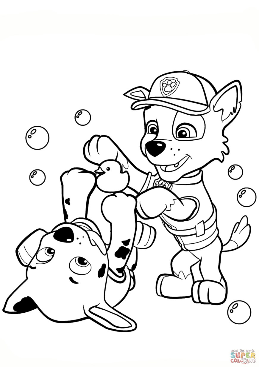 Printable Paw Patrol Coloring Pages Paw Patrol Rocky And Marshall Coloring Page Free Printable
