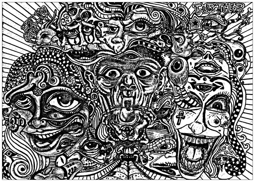 Psychedelic Coloring Pages Psychedelic Faces Psychedelic Adult Coloring Pages