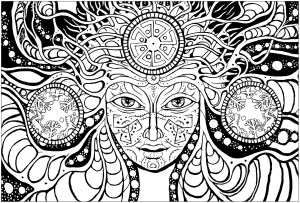 Psychedelic Coloring Pages Psychedelic Woman Psychedelic Adult Coloring Pages