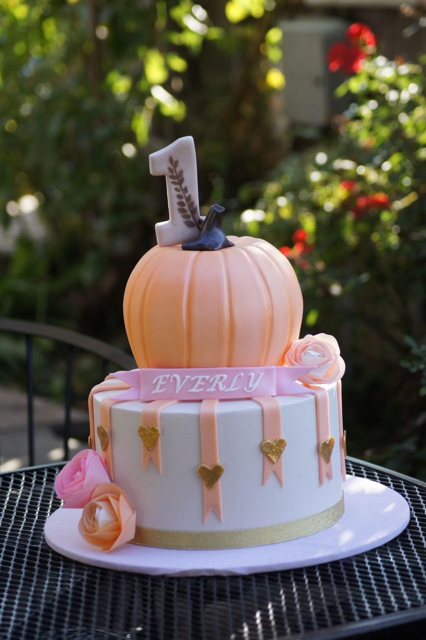 Pumpkin Birthday Cake Cute Tiered Birthday Cake With Pumpkin Top Decorated Cake Birth