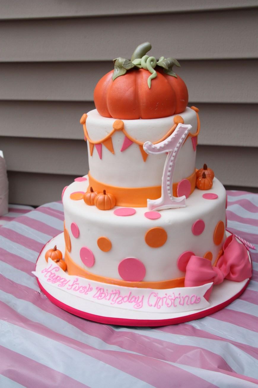 Pumpkin Birthday Cake Orange And Pink Fall Festival Birthday Cake Little Pumpkin 1st
