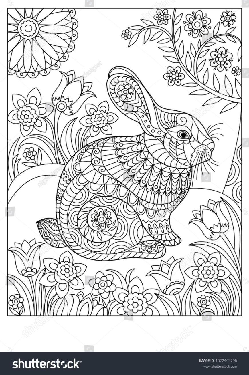 Rabbit Coloring Pages Rabbit Coloring Pages Spring Page Adult Children Stock Vector