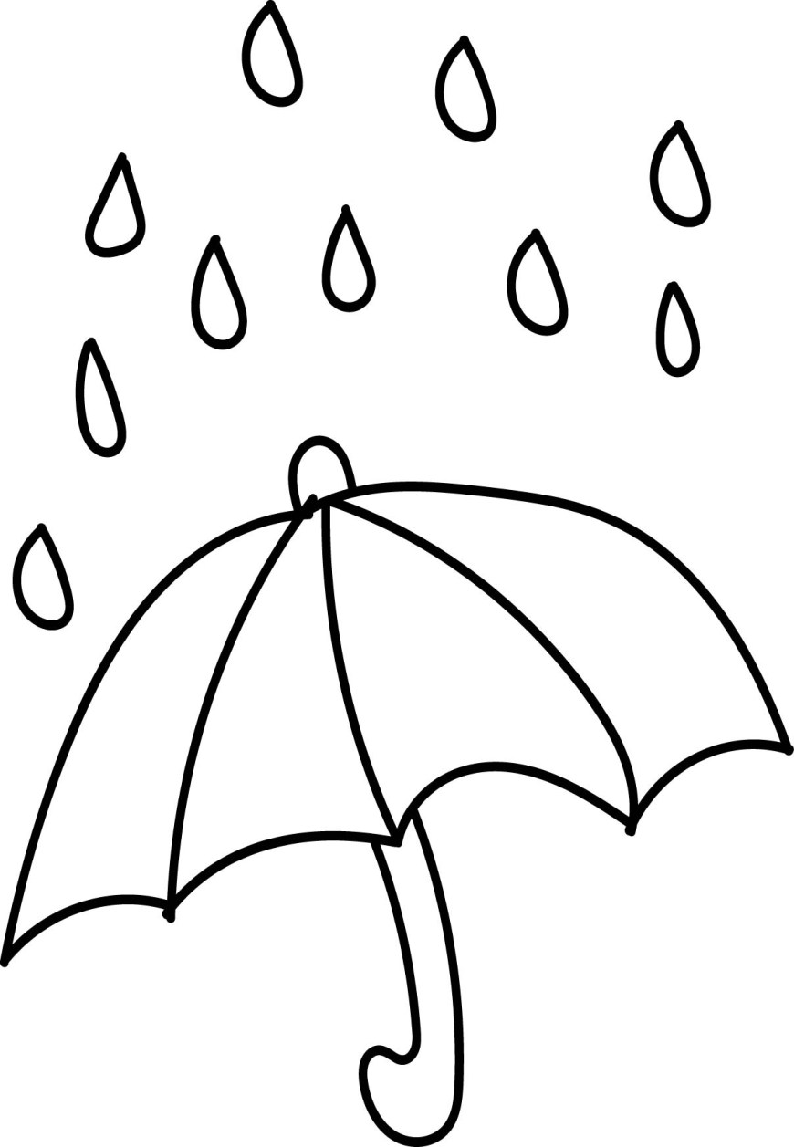 Rain Coloring Page Aftershock Spring Rain Umbrella Free April Coloring Page