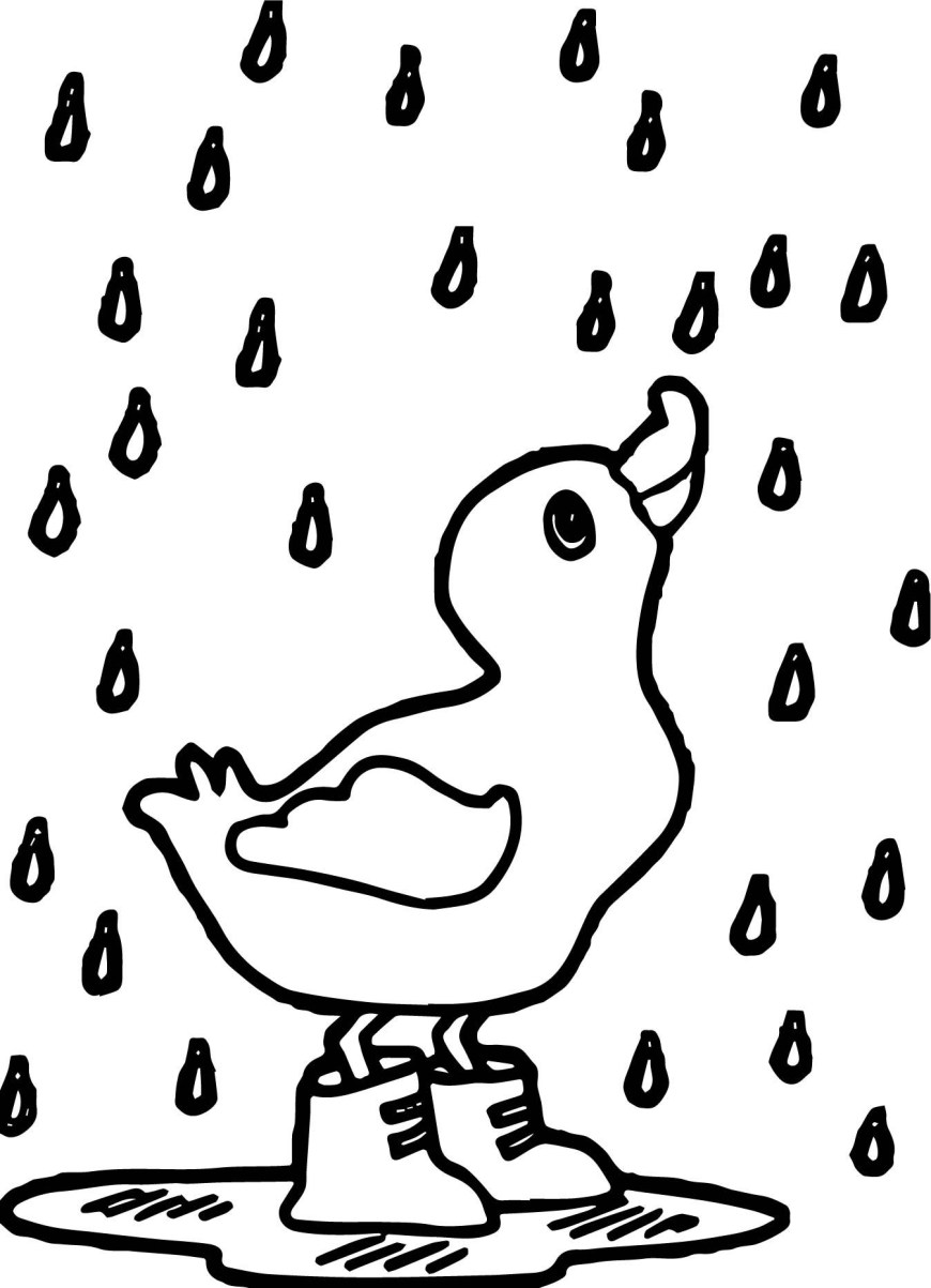 Rain Coloring Page April Rain Coloring Pages With Rain Duck April Coloring Page