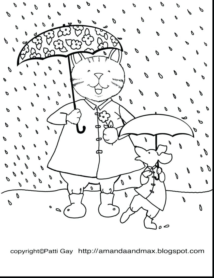 Rain Coloring Page Rain Coloring Page At Getdrawings Free For Personal Use Rain