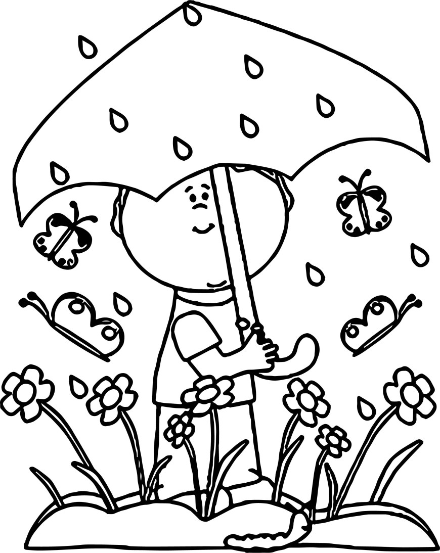 Rain Coloring Page Spring Butterfly Flower Umbrella Rain Coloring Page Wecoloringpage