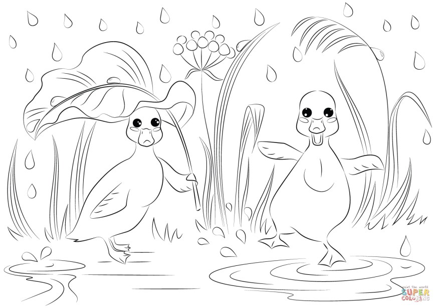 Rain Coloring Page Two Ducks In The Rain Coloring Page Free Printable Coloring Pages