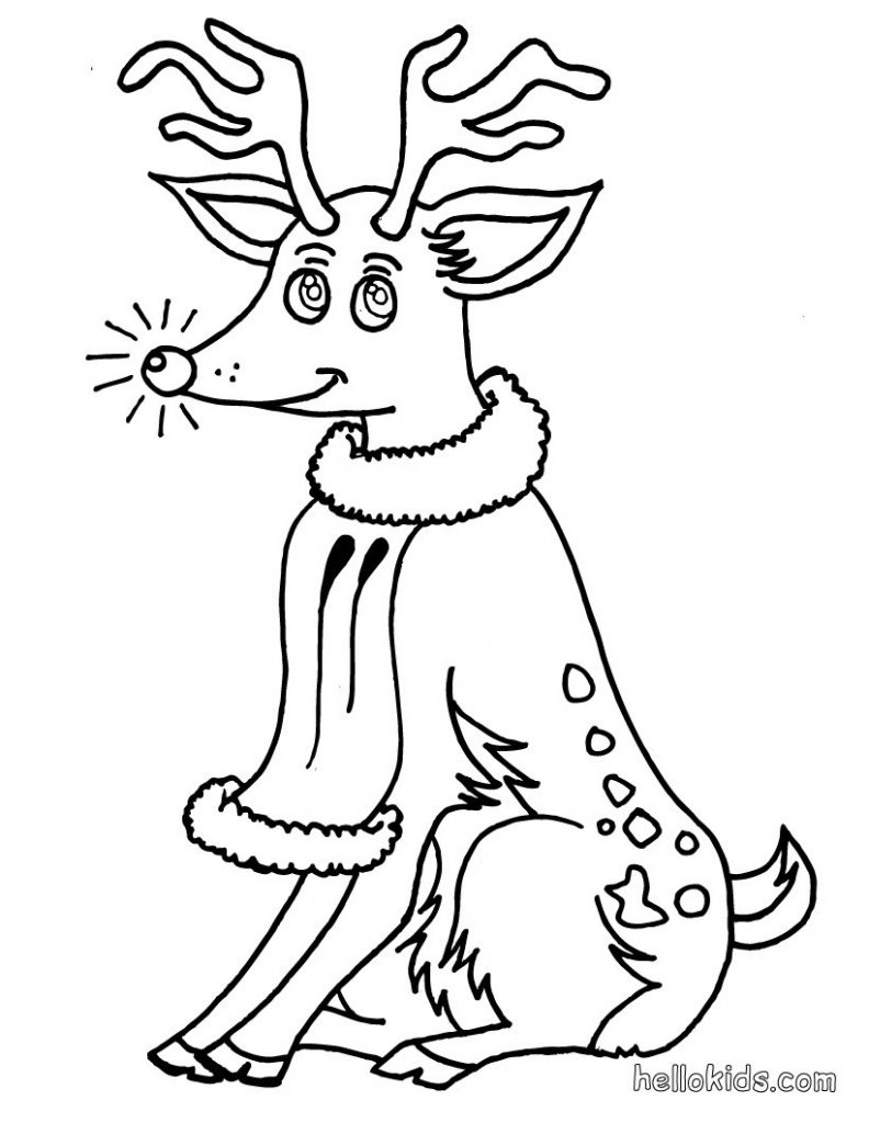 Rudolph The Red Nosed Reindeer Coloring Pages Rudolph The Red Nosed Reindeer Coloring Pages Hellokids Unique 15