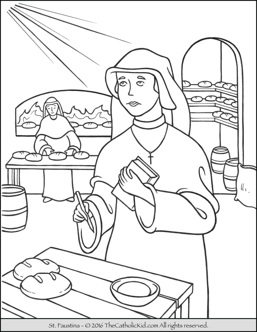 Saint Coloring Pages Saint Faustina Coloring Page The Catholic Kid