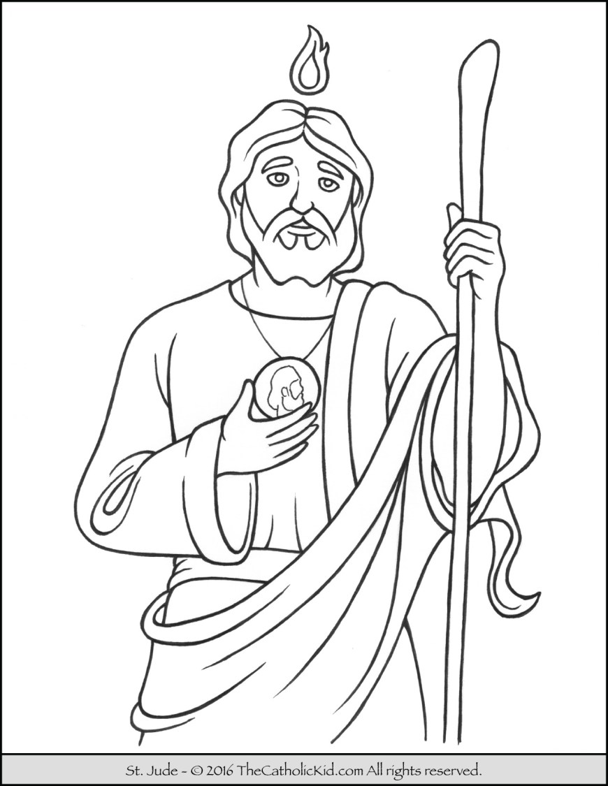 Saint Coloring Pages Saint Jude Coloring Page The Catholic Kid