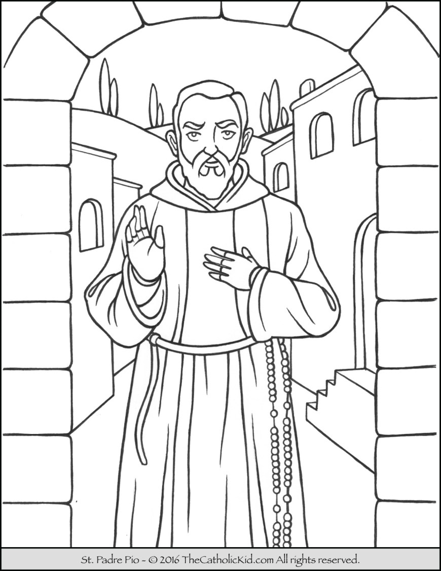 Saint Coloring Pages Saint Padre Pio Coloring Page The Catholic Kid