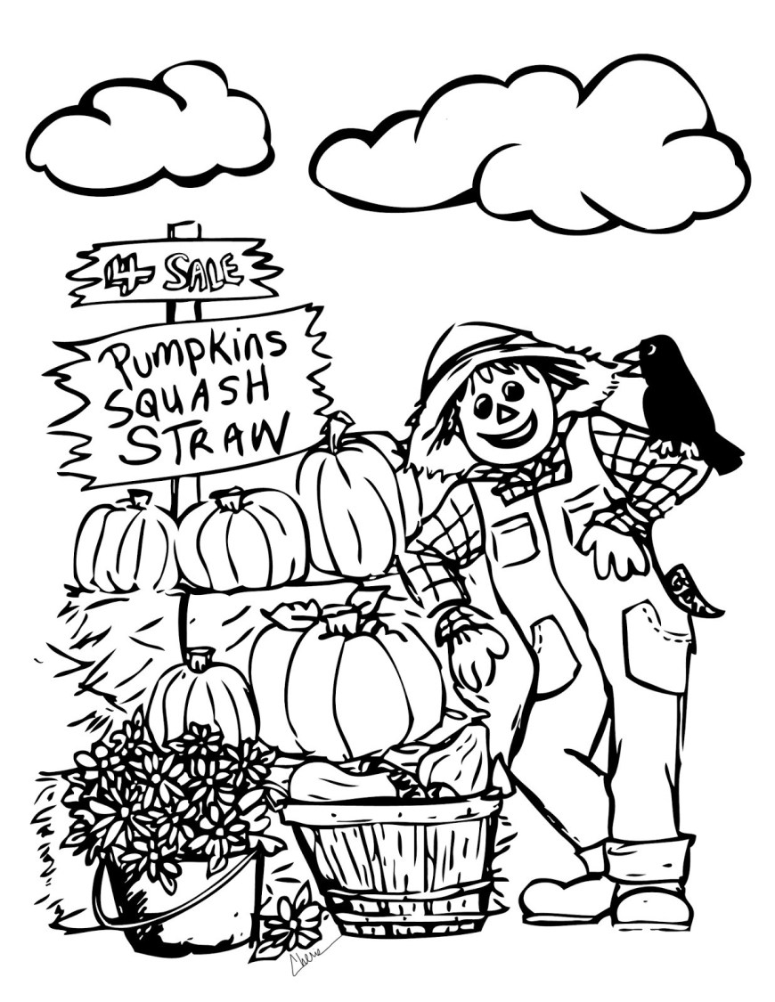 Scarecrow Coloring Page Powerful Scarecrow Coloring Pages Autumn Scene With Page Free