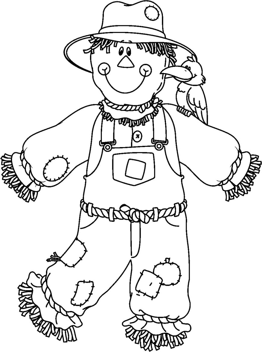 Scarecrow Coloring Page Scarecrow Coloring Page Perfect Halloween Pages Following Rustic