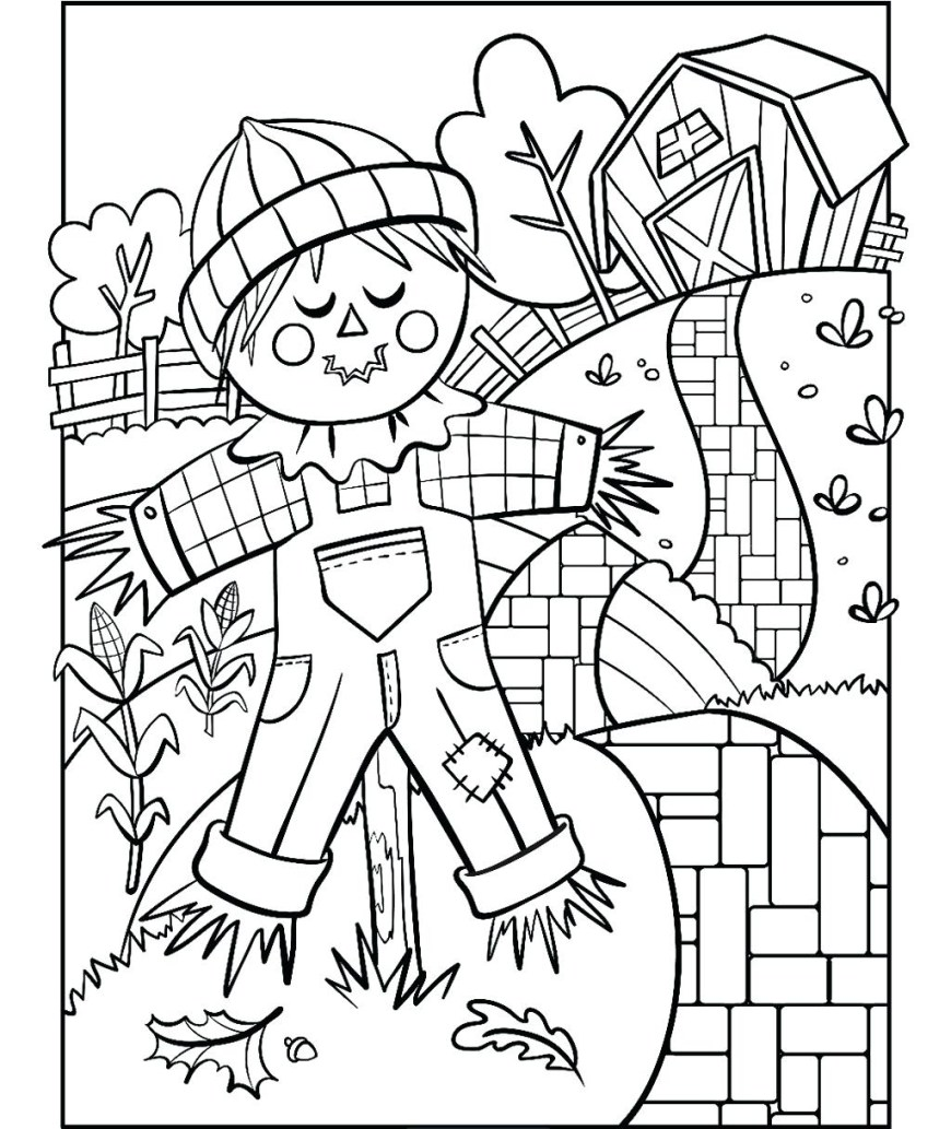Scarecrow Coloring Page Scarecrow Coloring Page Wizard Of Oz Scarecrow Coloring Page