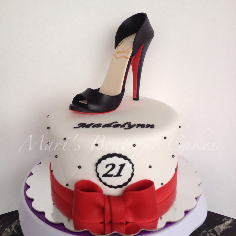Shoe Birthday Cake 21st Birthday Cake With High Heel Shoe Topper Maris Boutique