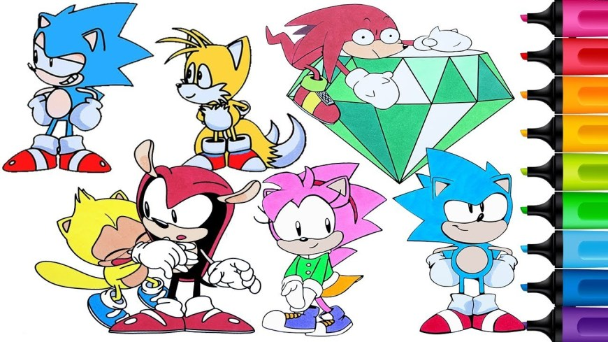 Sonic Coloring Pages Sonic Mania Coloring Pages Knuckles Mighty The Armadillo Amy Rose