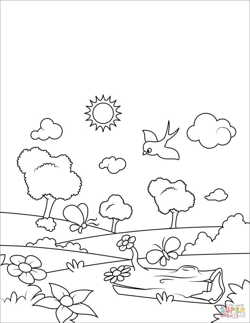 Spring Coloring Page Blossoming Spring Coloring Page Free Printable Coloring Pages