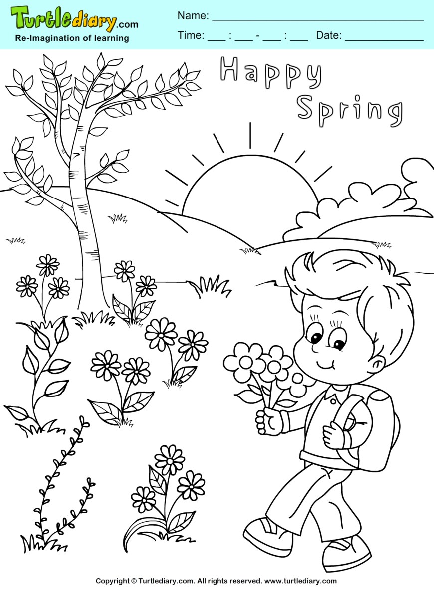 Spring Coloring Page Color Spring Page Turtle Diary