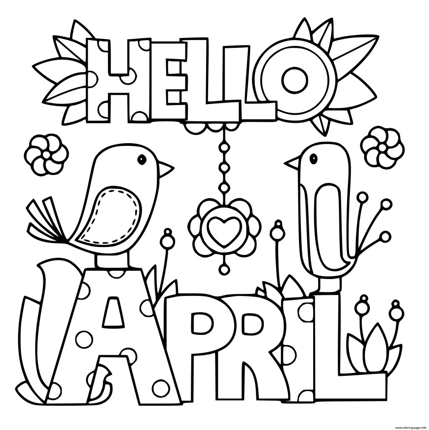 Spring Coloring Page Hello April Spring Coloring Pages Printable