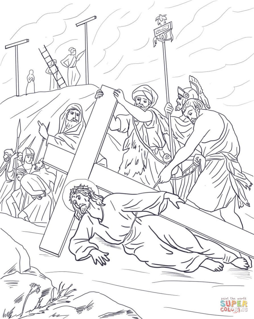 Stations Of The Cross Coloring Pages Jesus Stations Of The Cross Coloring Pages Free Coloring Pages