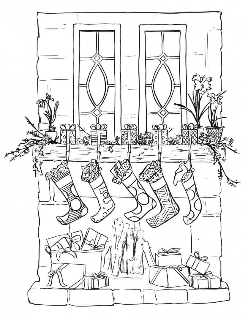 Stocking Coloring Page Printable Christmas Coloring Page