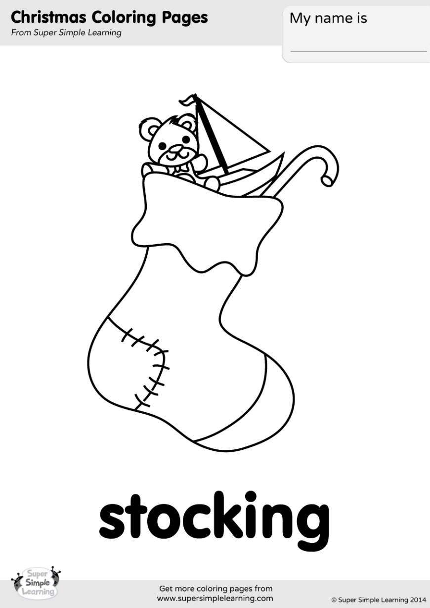 Stocking Coloring Page Stocking Coloring Page Super Simple